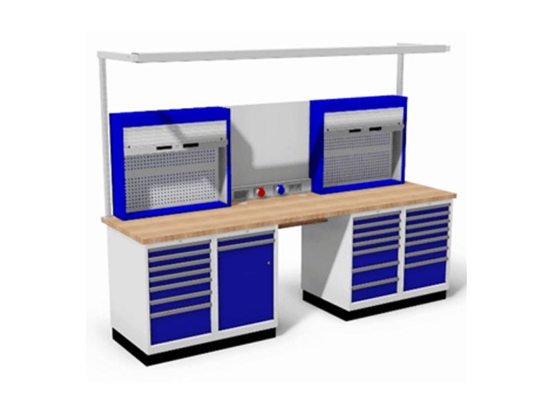 werkbank met ladekasten en gereedschapskasten