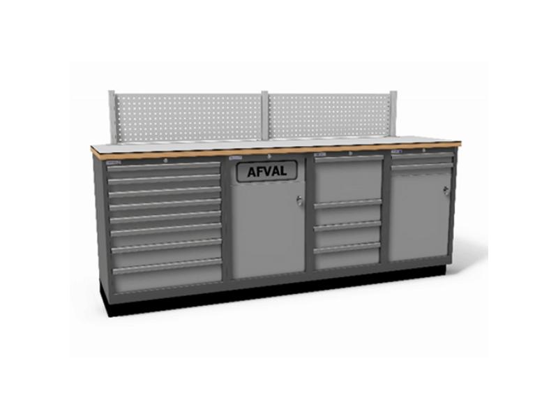 werkbank met schuifladekasten en geïntergreerde afvalkast