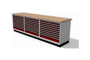 werkbankopstelling met schuifladekasten