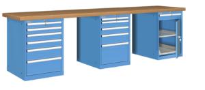 Werkbank Famepla met schuifladekasten