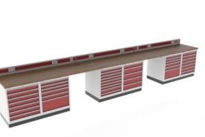 Werkbank met 40 mm beukenwerkblad, energiegoot en schuifladekasten