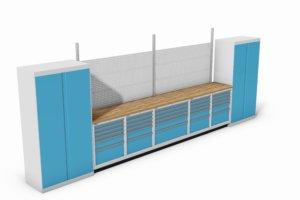 werkbankopstelling met vleugeldeurkasten, schuifladekasten e.d.