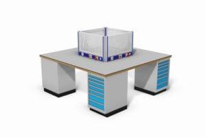 werkeiland met schuifladekasten, energiegoten en gereedschapsborden