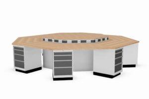 8-kantige werkbank met schuifladekasten en energiegoten